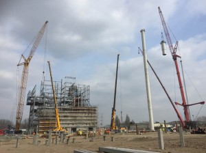 Final Section of Exhaust Stack Being Lifted Into Position (March 2016)