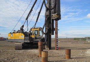 First working piles to be driven within the Tilbury Green Power construction site
